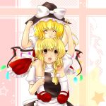 >:) :d ^_^ akina_(artist) akina_(schism) blonde_hair braid carrying chin_on_head chin_rest closed_eyes flandre_scarlet hat headwear_switch kirisame_marisa mary_janes multiple_girls open_mouth ponytail shoes short_hair shoulder_carry side_ponytail smile touhou wings witch_hat yellow_eyes