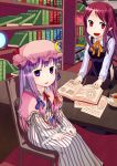 book cup demon_tail hat head_wings headwings hexagram highres koakuma library long_hair looking_at_viewer magic_circle muku-coffee open_book open_mouth patchouli_knowledge pointy_ears purple_eyes purple_hair red_eyes red_hair redhead robe runes sitting smile striped tail tea teacup touhou violet_eyes voile wings