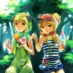 :q food hamamo ice_cream multiple_girls original scarf striped sundae tongue