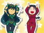 armor black_hair caramelldansen chinadress closed_eyes dragon_shiryu green_armor kio_kaina long_hair open_mouth saint_seiya shunrei