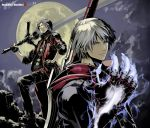 dante devil_bringer devil_may_cry error foreshortening gloves hands male moon nakaba_reimei nero_(devil_may_cry) rebellion_(sword) red_queen_(sword) silver_hair sword weapon