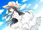 1girl :o bare_shoulders black_hair blue_eyes blush dress hasekura_chiaki hat hat_ribbon long_hair original ribbon sky sleeveless sleeveless_dress solo