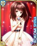 belt brown_eyes brown_hair dress girlfriend_(kari) microphone official_art shiina_kokomi short_hair sleeveless sleeveless_dress