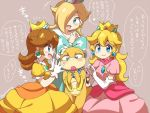 4girls aqua_eyes artist_name bangs blonde_hair blue_eyes blush bow brown_hair dress earrings elbow_gloves eromame flower_earrings gloves grey_background hair_ornament heart jewelry large_bow lips long_hair mario_(series) multiple_girls necklace open_mouth payot princess_daisy princess_peach rosetta_(mario) simple_background smile spoken_heart super_mario_bros. super_mario_galaxy tiara translation_request wendy_o._koopa