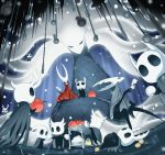6+others apple arizuka_(catacombe) cloak commentary_request cup food fruit helmet highres hollow_knight hollow_knight_(character) hornet_(hollow_knight) looking_at_viewer lying multiple_others on_back on_ground red_cloak sitting standing tea teacup