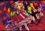 1girl alternate_costume alternate_weapon battle_axe blonde_hair clouds dress dutch_angle elbow_gloves flandre_scarlet flower flower_necklace frilled_skirt frills gloves hat hat_flower hat_ribbon highres jewelry kakiikada layered_dress letterboxed lips looking_at_viewer mob_cap necklace pantyhose parted_lips petals puffy_short_sleeves puffy_sleeves red_dress red_eyes red_rose ribbon rose scarlet_devil_mansion short_hair short_sleeves side_ponytail skirt solo touhou weapon white_legwear wings