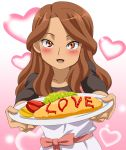 1girl artist_request blush brown_eyes brown_hair dress english food heart inazuma_eleven inazuma_eleven_(series) looking_at_viewer omelette open_mouth raimon_natsumi ribon smile solo source_request standing