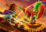 architecture clouds dutch_angle east_asian_architecture entei falling_star flyaspring4 ho-oh meteor_shower no_humans pagoda pokemon pokemon_(creature) raikou rainbow rooftop suicune sunset