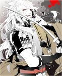 1boy blood japanese_clothes katana kogitsunemaru male_focus noppo open_mouth red_eyes smile sword touken_ranbu weapon white_hair