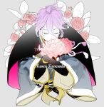 1boy character_name closed_eyes copyright_name flower japanese_clothes kasen_kanesada male_focus noppo purple_hair touken_ranbu