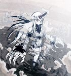 1girl bare_shoulders breasts claws clouds commentary covering_mouth detached_sleeves dress giantess horn kantai_collection large_breasts long_hair long_sleeves partially_submerged red_eyes ribbed_dress seaport_hime setz shinkaisei-kan solo taut_clothes taut_dress very_long_hair water white_dress white_hair white_skin