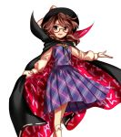 1girl bow brown_eyes brown_hair cape glasses harukawa_moe hat hat_bow long_sleeves looking_at_viewer official_art open_mouth plaid plaid_shirt plaid_skirt shirt short_hair skirt socks solo touhou twintails urban_legend_in_limbo usami_sumireko