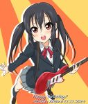 1girl black_hair black_legwear blush dated foreshortening from_above guitar happy_birthday instrument k-on! kneehighs long_hair nakano_azusa open_mouth pleated_skirt red_eyes school_uniform skirt smile solo tetopetesone twintails