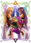 2boys a_link_between_worlds absurdres animal_hat back-to-back blonde_hair boots border cape closed_eyes elbow_gloves ganon gloves hat highres irene_(the_legend_of_zelda) link long_hair master_sword mirrored multiple_boys multiple_girls over_shoulder palms_together pointy_ears praying princess_hilda princess_zelda purple_hair ravio sack scarf shield shoulder_pads staff sword the_legend_of_zelda tiara triforce tunic weapon witch_hat yachi_(fujiyasu0616)