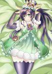 1girl black_hair elbow_gloves fur_trim gloves green_eyes highres long_hair lying ponytail puzzle_&_dragons smile thigh-highs verdandi_(p&d) wosero zettai_ryouiki