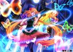 1girl absurdres artist_name black_legwear building closed_eyes facing_viewer flower hair_flower hair_ornament highres instrument long_hair moon mr._j.w music orange_hair original personification rainbow reflection skyscraper thigh-highs twintails very_long_hair violin zebra