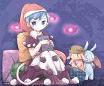 1girl blue_eyes blue_hair book doremy_sweet dress hat nightcap pillow pom_pom_(clothes) ringo_(touhou)_(bunny) satorichan seiran_(touhou)_(bunny) shirt short_hair skirt smile tail touhou