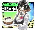 1girl artist_request bangs black_hair bloodstained:_ritual_of_the_night breasts brown_hair cake cleavage detached_collar food gradient_hair horn_ornament horns miriam_(bloodstained) multicolored_hair official_art pale_skin petals short_hair smile solo tattoo