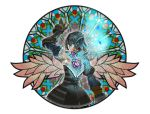 1girl black_hair bloodstained:_ritual_of_the_night blue_eyes brown_hair detached_sleeves gauntlets hair_between_eyes hair_ornament highres looking_at_viewer miriam_(bloodstained) multicolored_hair official_art pale_skin short_hair solo stained_glass