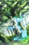 alternate_color artist_name dated forest grass highres lens_flare light_rays nature no_humans pokemon pokemon_(creature) rapidash shiny_pokemon tree vines yuitsuki1206