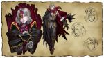 1boy bloodstained:_ritual_of_the_night boots cape concept_art gebel_(bloodstained) highres mask official_art red_eyes short_hair silver_hair solo stained_glass