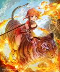 1girl :d animal armor braid breasts cleavage copyright cygames hakou_(barasensou) looking_at_viewer magic naginata official_art open_mouth orange_hair polearm riding shingeki_no_bahamut short_hair shorts smile striped tail tiger violet_eyes watermark weapon