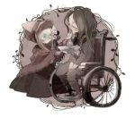 2girls bloodborne bonnet bowl brushing_teeth chibi closed_eyes hunter_(bloodborne) kmitty multiple_girls plain_doll spoilers toothbrush wheelchair