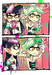 2girls aori_(splatoon) food hotaru_(splatoon) ice_cream multiple_girls nintendo setz splatoon
