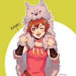 1girl alternate_costume animal_costume brown_hair green_eyes looking_at_viewer mella octopath_traveler open_mouth short_hair simple_background smile solo tressa_(octopath_traveler) wolf wolf_costume