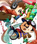 2boys :o backpack bag baseball_cap black_hair brown_hair bunsuke doubutsu_no_mori fang goggles goggles_on_hat gun hat headphones inkling mother_(game) mother_2 multiple_boys ness nintendo open_mouth paint_roller shirt shorts smile solid_oval_eyes splatoon striped striped_shirt super_smash_bros. super_soaker tentacle_hair villager_(doubutsu_no_mori) weapon