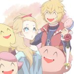 2girls 3boys ^_^ ^o^ alternate_hairstyle bare_shoulders blonde_hair blue_eyes closed_eyes doubutsu_no_mori flower hair_brush hair_ornament hairclip kirby kirby_(series) long_hair mario_(series) multiple_boys multiple_girls open_mouth pac-man pac-man_(game) rosetta_(mario) short_hair shulk smile super_mario_bros. super_mario_galaxy super_smash_bros. turtleneck vest villager_(doubutsu_no_mori) xenoblade
