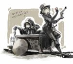 2girls blonde_hair bloodborne boots bored brown_hair chalice gun hand_on_own_face handgun hat high_heel_boots high_heels holding hooded hunter_(bloodborne) kmitty leaning_forward long_hair looking_at_hand multiple_girls pistol pointing pointing_down shield sitting_on_desk sword table trench_coat weapon