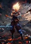 1boy blonde_hair boots bryan_marvin_p._sola crossed_arms dougi dragon_ball dragon_ball_z electricity floating full_body glowing glowing_eyes glowing_hair male_focus muscle no_pupils serious sleeveless solo son_gokuu spiky_hair super_saiyan torn_clothes wristband yellow_eyes