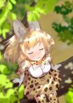 1girl :3 animal_ears bare_shoulders blonde_hair blush bow bowtie closed_eyes commentary_request elbow_gloves extra_ears from_above gloves high-waist_skirt highres kemono_friends multicolored_hair print_gloves print_legwear print_neckwear print_skirt serval_(kemono_friends) serval_ears serval_girl serval_print serval_tail shirt short_hair sitting skirt sleeveless solo taguchi_makoto tail thigh-highs white_shirt zettai_ryouiki