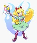 ahoge blonde_hair boots cosplay crossover devil_horns dress grin long_hair pantyhose rwby smile star_butterfly star_butterfly_(cosplay) star_vs_the_forces_of_evil violet_eyes wand yang_xiao_long