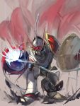 armor cape digimon digimon_tamers dukemon ege_(597100016) highres knight lance no_humans polearm shield solo squatting weapon yellow_eyes