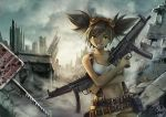 1girl 2015 borrowed_character breasts brown_hair city cleavage clouds cloudy_sky cowboy_shot crossed_arms dual_wielding goggles goggles_on_head green_eyes grin gun h&k_mp5 heckler_&_koch maxa' midriff navel original outdoors ruins signature sky smile solo submachine_gun suspenders twintails weapon
