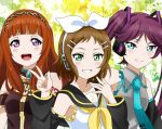 3girls a-rise blue_eyes bow brown_hair cosplay detached_sleeves green_eyes grin hair_bow hair_ornament hairclip hatsune_miku hatsune_miku_(cosplay) headset kagamine_rin kagamine_rin_(cosplay) kira_tsubasa love_live!_school_idol_project maguroido megurine_luka megurine_luka_(cosplay) mole mole_under_eye multiple_girls necktie open_mouth purple_hair redhead sailor_collar smile toudou_erena twintails upper_body v violet_eyes vocaloid yuuki_anju