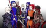 2girls 5boys archer armor armored_dress assassin_(fate/extra) assassin_(fate/stay_night) avenger black_hair blonde_hair blue_hair caladbolg chinese_clothes crown dark_skin dress dual_persona fate/extra fate/hollow_ataraxia fate/stay_night fate_(series) full_body_tattoo gae_bolg japanese_clothes lancer multiple_boys multiple_girls ooka polearm ponytail red_eyes redhead saber saber_alter spear sword tattoo weapon white_hair yellow_eyes