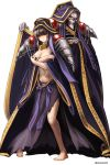 1boy 1girl ainz_ooal_gown aken barefoot black_hair blush cosplay covering covering_breasts hair_over_eyes highres hood narberal_gamma overlord_(maruyama) shoulder_pads skull standing