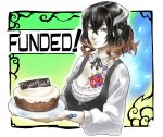 1girl alternate_costume black_hair bloodstained:_ritual_of_the_night blue_eyes brown_hair cake detached_collar food gradient_hair hair_between_eyes hair_ornament looking_at_viewer miriam_(bloodstained) multicolored_hair natsume_yuji official_art pale_skin short_hair smile solo stained_glass