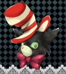 argyle argyle_background bowtie cat checkered checkered_background face green_eyes lace_border smile solo striped striped_hat the_cat_in_the_hat the_cat_in_the_hat_(character) toc