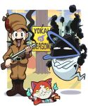1boy amano_keita brown_hair cat crossed_arms elmer_fudd gashi-gashi ghost gun jibanyan looney_tunes parody shotgun sign smoke smoking_gun weapon whisper_(youkai_watch) youkai youkai_watch
