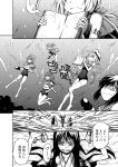 6+girls armor arms_up book cannon comic greyscale i-168_(kantai_collection) i-19_(kantai_collection) i-401_(kantai_collection) i-58_(kantai_collection) i-8_(kantai_collection) kantai_collection monochrome multiple_girls outstretched_arms ru-class_battleship shinkaisei-kan swimsuit torpedo underwater zepher_(makegumi_club)