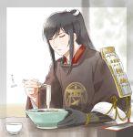 1boy black_hair bowl chopsticks closed_eyes food japanese_clothes long_hair male_focus mizuhara_aki noodles parted_lips ponytail single_glove sode solo tarou_tachi touken_ranbu upper_body