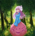 1girl absurdres bowtie bubble_skirt evox00 expressionless forest fox_mask hands_in_sleeves hata_no_kokoro highres lavender_eyes lavender_hair long_hair looking_at_viewer mask nature outdoors plaid plaid_shirt shirt skirt solo star touhou triangle v_arms x