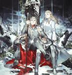 2boys blonde_hair blue_eyes boots coat crossed_legs crown elf father_and_son leaf legolas long_hair looking_at_viewer lord_of_the_rings male_focus multiple_boys pants pointy_ears sitting snow snowing standing starshadowmagician thranduil throne tree