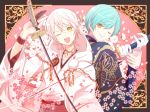 2boys ;d aqua_hair back-to-back cherry_blossoms elaborate_frame gloves hood ichigo_hitofuri japanese_clothes katana kurara_(skra1015) male_focus multiple_boys one_eye_closed open_mouth partly_fingerless_gloves petals pom_pom_(clothes) smile sword touken_ranbu tsurumaru_kuninaga weapon white_gloves white_hair yellow_eyes