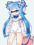 1boy 1girl 27_degrees blue_eyes blue_hair bow breast_conscious cosplay detached_sleeves dress dungeon_ni_deai_wo_motomeru_no_wa_machigatteiru_darou_ka flat_chest hal_laboratory_inc. hestia_(danmachi) hestia_(danmachi)_(cosplay) highres hoshi_no_kirby inkling j.c._staff kirby kirby_(series) long_hair mask nintendo nintendo_ead panties pantyshot pantyshot_(standing) pink_puff_ball pointy_ears rei_no_himo ribbon short_dress softbank_creative solo_focus sora_(company) splatoon square_enix squid_girl standing super_smash_bros. super_smash_bros._ultimate sweatdrop tentacle_hair twintails underwear