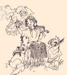 1girl archeops breasts closed_eyes dracaena_(pokemon) durant elite_four haxorus jewelry long_hair monochrome necklace pokemon pokemon_(game) pokemon_xy sandals sitting sjewelry skirt smile